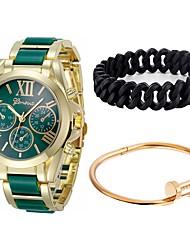 Недорогие -Для пары Наручные часы Кварцевый Секундомер Повседневные часы Крупный циферблат Нержавеющая сталь Группа Аналоговый Кольцеобразный Мода Черный / Белый / Синий - Синий Розовый Светло-Зеленый