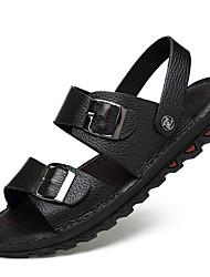 Недорогие -Муж. Комфортная обувь Кожа Лето Винтаж / На каждый день Сандалии Дышащий Черный / Кофейный