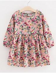 Недорогие -Дети Девочки Классический Цветочный принт Длинный рукав Платье Розовый 100