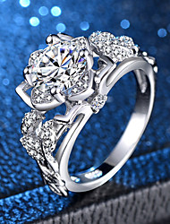 billige -Dame Klar Kvadratisk Zirconium Ring - Platin Belagt, Simuleret diamant Kronblad, Flower Shape Unikt design, Romantik, Elegant 6 / 7 / 8 / 9 / 10 Sølv Til Fest Stævnemøde