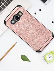 billige -Etui Til Samsung Galaxy J5 (2016) Stødsikker / Belægning / Glitterskin Bagcover Ensfarvet / Glitterskin Hårdt PU Læder / TPU / PC for J5 (2016)