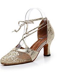 olcso -Női Modern cipők Háló Szandál Virág Slim High Heel Személyre szabható Dance Shoes Arany / Ezüst / Sötétszürke
