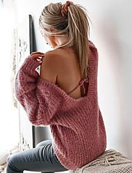 Недорогие -Жен. Повседневные / На выход Классический / Уличный стиль Однотонный Длинный рукав Обычный Пуловер, Глубокий V-образный вырез Осень / Зима Красный / Желтый / Винный M / L / XL / Сексуальные платья