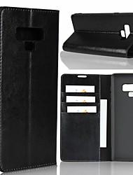 billiga -fodral Till Samsung Galaxy Note 9 / Note 8 Plånbok / Stötsäker / med stativ Fodral Enfärgad Hårt Äkta Läder för Note 9 / Note 8 / Note 5