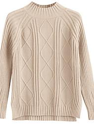 billige -Dame langærmet pullover - solid farvet turtleneck