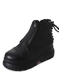 Недорогие -Жен. Армейские ботинки Полиуретан Осень На каждый день Ботинки Туфли на танкетке Круглый носок Сапоги до середины икры Черный
