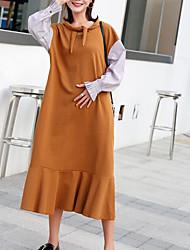 お買い得  -女性はルーズTシャツ/シフトドレスマキシ
