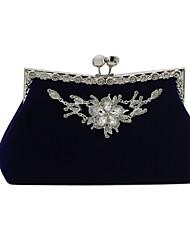 Недорогие -Жен. Мешки Бархат Вечерняя сумочка Сплошной цвет Синий / Черный / Красный