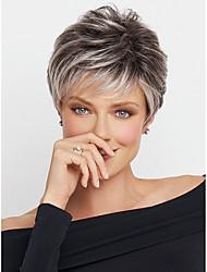 Недорогие -Парики из искусственных волос Естественные волны Омбре Стрижка под мальчика / Стрижка каскад / Боковая часть Черный / Белый Искусственные волосы 8 дюймовый Жен. Природные волосы Омбре Парик