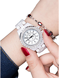 Недорогие -Жен. Наручные часы Кварцевый 30 m Защита от влаги Новый дизайн Керамика Группа Аналоговый Мода Белый - Серебряный Розовое золото