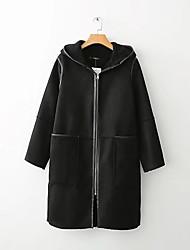 Недорогие -хлопковое пальто женщин - сплошной цвет