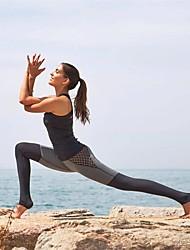 billige -Dame Patchwork Yoga bukser - Sort Kombo Sport Ternet / Gingham Tights Fitness Sportstøj Hurtigtørrende, Svedreducerende Høj Elasticitet Tynde