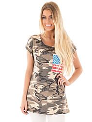 billige -kvinders slanke t-shirt - camouflage rundt hals