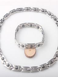 Недорогие -Жен. Драгоценный камень Ссылка / цепочка Комплект ювелирных изделий - нержавеющий Дамы, Уникальный дизайн, европейский, модный Включают Браслет цельное кольцо Ожерелья-бархатки Браслеты с голограммой