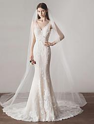 Недорогие -Один слой Европейский стиль Свадебные вуали Фата для венчания с Однотонные 118,11 в (300см) Хлопок / нейлон с намеком на участке