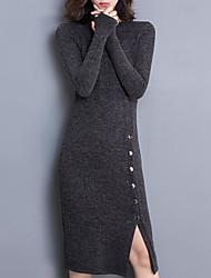 Недорогие -женщины выходят тощий свитер / оболочка платье midi