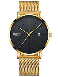 Недорогие -Муж. Наручные часы Японский Кварцевый Нержавеющая сталь Черный / Серебристый металл / Золотистый 30 m Защита от влаги Календарь Секундомер Аналоговый Кольцеобразный Мода -  / Два года / Два года
