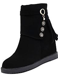 Недорогие -Жен. Fashion Boots Полиуретан Осень На каждый день Ботинки На плоской подошве Круглый носок Сапоги до середины икры Черный / Желтый
