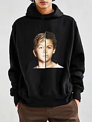 baratos -hoodie de manga comprida masculina - retrato com capuz