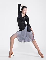 お買い得  -ラテンダンス ドレス 女性用 性能 プロミックス タッセル 七分袖 ドレス / ブローチ