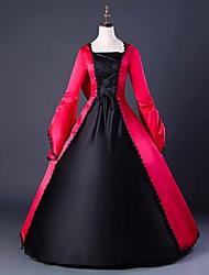 abordables -Capes Gothique Epoque Médiévale Costume Femme Robes Costume de Soirée Bal Masqué Robe de Soirée Rouge Vintage Cosplay Satinette Manches Longues Ballon Longueur Sol Robe de Soirée Déguisement