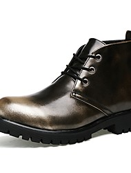 cheap -Men's Comfort Shoes Leather / Faux Leather Spring &  Fall Casual / British Boots Non-slipping Booties / Ankle Boots Gradient Gold / Black / Burgundy