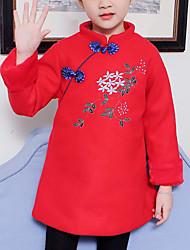 tanie -Dzieci Dla dziewczynek Kwiaty Długi rękaw Sukienka