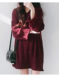 Недорогие -женщины выходят свободно свитер платье выше колена v шеи