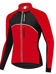 abordables -WOSAWE Unisexe Manches Longues Veste de Cyclisme - Rouge Cyclisme Shirt Maillot, Pare-vent Etanche Garder au chaud, Hiver, 100 % Polyester / Elastique / Doublure Polaire