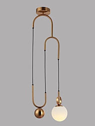 cheap -Circular / Mini Pendant Light Ambient Light Antique Brass Electroplated Metal Glass Eye Protection, Adjustable, New Design 110-120V / 220-240V