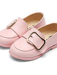 Недорогие -Девочки Обувь Кожа Весна & осень Детская праздничная обувь / Светодиодные подошвы На плокой подошве Пряжки для Дети Черный / Розовый