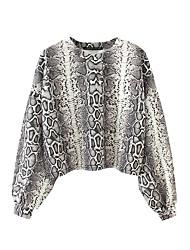 baratos -T-shirt solta de algodão feminino - gola redonda às riscas