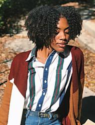 voordelige -Mensen Remy Haar Volledig Kant Kanten Voorkant Pruik Asymmetrisch kapsel Rihanna stijl Braziliaans haar Afro Kinky Kinky Curly Zwart Pruik 130% 150% 180% Haardichtheid met babyhaar Zacht Dames