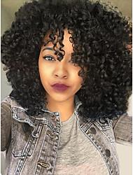 voordelige -Mensen Remy Haar 6x13 Sluiting Kanten Voorkant Pruik Diepe scheiding stijl Braziliaans haar Gekruld Pruik 150% 180% Haardichtheid Beste kwaliteit Dik Natuurlijke haarlijn met clip lijmloze Naturel