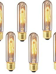 Недорогие -6шт 40 W E26 / E27 T10 Тёплый белый 2200-2700 k Ретро / Диммируемая / Декоративная Лампа накаливания Vintage Эдисон лампочка 220-240 V