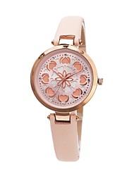 Недорогие -Жен. Нарядные часы Японский Японский кварц Стеганная ПУ кожа Белый / Розовый / Бежевый 30 m С гравировкой Cool Аналоговый Дамы Heart Shape Мода - Белый Светло-русый Розовый / Два года / Два года