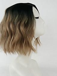 Χαμηλού Κόστους -Συνθετικές Περούκες Βαθύ Κύμα Ανοικτό Καφέ Πλευρικό μέρος Ανοικτό Καφέ Συνθετικά μαλλιά 10 inch Γυναικεία συνθετικός / Μοντέρνα Ανοικτό Καφέ Περούκα Κοντό Χωρίς κάλυμμα
