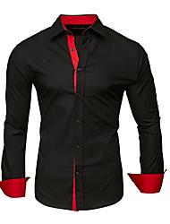 Недорогие -мужская хлопковая рубашка - сплошной цветной воротник