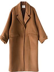 Недорогие -Жен. Повседневные Длинная Пальто, Однотонный С отворотом Длинный рукав Искусственный шёлк / Полиэстер Светло-коричневый S / M / L