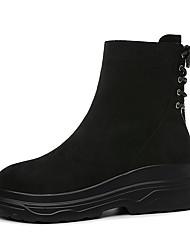 Недорогие -Жен. Полиуретан Зима Ботинки На плоской подошве Круглый носок Сапоги до середины икры Черный