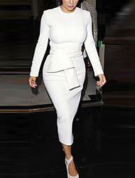 Недорогие -Жен. Уличный стиль / Изысканный Облегающий силуэт / Оболочка Платье - Однотонный Средней длины Черное и белое