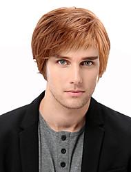 Недорогие -Человеческие волосы без парики Натуральные волосы Прямой Боковая часть Короткие Машинное плетение Парик Муж. / Прямой силуэт