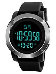 Недорогие -Муж. Спортивные часы электронные часы Японский Цифровой силиконовый Черный / Небесно-голубой 30 m Защита от влаги Будильник Календарь Цифровой Мода - Черный / Серебристый Серебристый / Синий