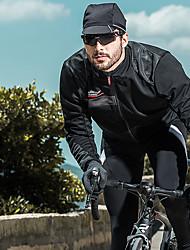 baratos -SANTIC Homens Jaqueta para Ciclismo Moto Jaqueta / Blusas A Prova de Vento, Respirável, Térmico / Quente Sólido Inverno Branco / Preto Roupa de Ciclismo