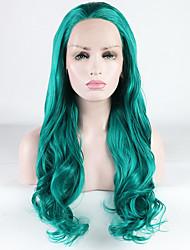 Χαμηλού Κόστους -Συνθετικές μπροστινές περούκες δαντέλας Χαλαρό Κυματιστό / Χαλαρή μπούκλα Πράσινο Ελεύθερο μέρος Πράσινο 180% Ανθρώπινο πυκνότητα των τριχών Συνθετικά μαλλιά 18-26 inch Γυναικεία / Δαντέλα Μπροστά