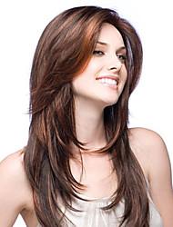Недорогие -Не подвергавшиеся окрашиванию Бесклеевая сплошная кружевная основа Бесклеевая кружевная лента Полностью ленточные Парик Стрижка каскад Свободная часть стиль Бразильские волосы Прямой Парик 130% 150