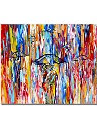 Недорогие -styledecor® современная ручная роспись абстрактные красочные ножи окрашенные ходунки в масляной живописи дождя на холсте для настенного искусства, готовые повесить искусство