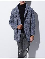 tanie -Męskie Codzienny Podstawowy Frędzel Solidne kolory Długi rękaw Regularny Sweter rozpinany Niebieski / Ciemnoszary L / XL / XXL