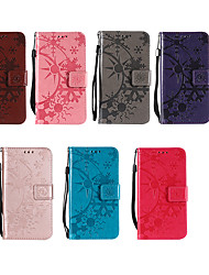 Недорогие -Кейс для Назначение LG LG V30 / LG K10 2018 / LG K10 (2017) Кошелек / Бумажник для карт / со стендом Чехол Однотонный Твердый Кожа PU / LG G6