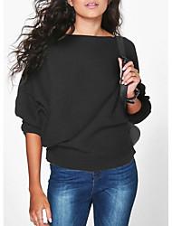 Недорогие -Жен. Повседневные Однотонный Длинный рукав Обычный Пуловер Красный / Серый / Винный L / XL / XXL
